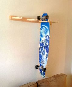 Vertical Skateboard Rack | Wood Board Hanger - StoreYourBoard.com