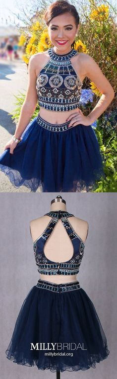 Blue Homecoming Dresses Short, Two Piece Homecoming Dresses Open Back, A Line Homecoming Dresses Tulle, Beading Homecoming Dresses Sexy