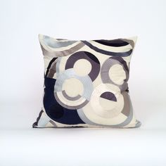 Contemporary Geometric Circle Print Throw Pillow in Navy & Cream, Modern Designer Accent Pillow for a Bed or Sofa, by Fabrinique on Etsy https://www.etsy.com/listing/231620072/contemporary-geometric-circle-print