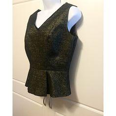 "Tahari Black & Gold Metallic Peplum Top Black with gold metallic thread. Sleeveless. Pleated below waist. Measures: bust 18.5"", waist 14.5"", length 21.5"". Excellent condition! Tahari Tops"