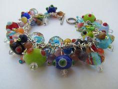Colorful beaded cluster bracelet with lampwork by juleezjewelz, $14.95