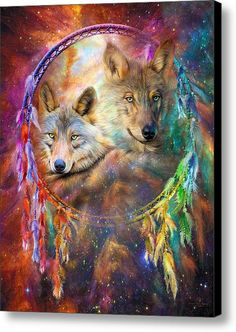 Dream Catcher - Wolf Spirits Canvas Print / Canvas Art By Carol Cavalaris