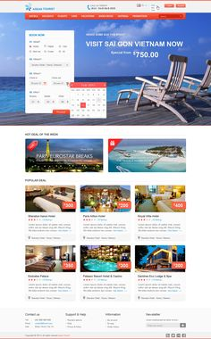 Hotel website on pinterest travel website design flat for Website that allows you to design a room