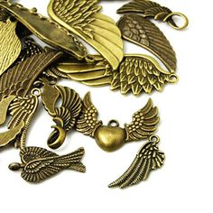 Owl Charms, Bronze Pendant, Wooden Jewelry, Jewelry Supplies, Craft Supplies, Silver Charms, Antique Silver, Wings, Jewelry Making