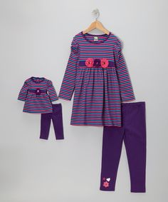 Take a look at this Purple Stripe Legging Set & Doll Outfit - Girls on zulily today!