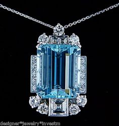 Absolutely Exceptional Designer Signed Bailey Banks & Biddle Art Deco Period 21.00ctw AAA Santa Maria Aquamarine & 5.00ctw FLAWLESS COLORLESS Antique Square Asscher (square step) & Old European Cut Diamonds in 18k White Gold Pendant Necklace.