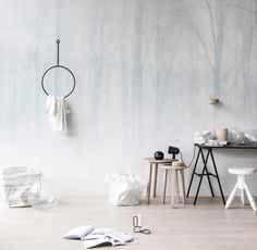 Wald Im Nebel: Wandbild Von Vinterskog Von Sandberg #skandinavisch # Schlafzimmer #tapete