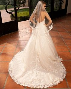 Lace ball gown with long train wedding dress by Casablanca Bridal - The Crystal Bride - Geneva IL Wedding Dress Organza, Wedding Dress With Veil, Wedding Dress Pictures, Elegant Wedding Dress, Designer Wedding Dresses, Casablanca Bridal Gowns, Bridal Veils And Headpieces, Dress Out, Ball Gown Dresses