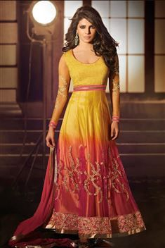 Priyanka Chopra Yellow and Orange Net Ankle Length Suit @ 50% discount