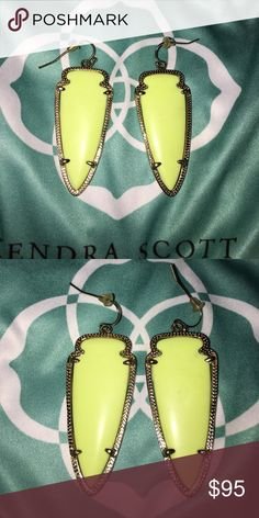 Kendra Scott Neon Yellow Skylars EUC. No tarnish. Looking to either sell or trade for neon yellow Elle's, possibly neon yellow sky's. Will come with blue KS bag. If you have a good trading history I will ship first. If not, I will ship after I get confirmation that you've shipped yours. Open to reasonable offers Kendra Scott Jewelry Earrings