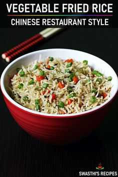 Veg fried rice made in Chinese restaurant style! Try this at home for a quick dinner. You will be amazed at how flavourful and easy it is to make it! Easy Rice Recipes, Spicy Recipes, Curry Recipes, Indian Food Recipes, Veg Dinner Recipes, Arabic Recipes, Chaat Recipe, Biryani Recipe, Manchurian Recipe Vegetarian