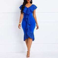 Silhouette: Mermaid Dress Length: Mid-Calf Sleeve Length: Cap Sleeve Combination Type: Single Waist Line: High. Elegant Dresses, Casual Dresses, Fashion Dresses, Summer Dresses, Dress Outfits, Midi Dresses, Pencil Dresses, Plain Dress, The Dress