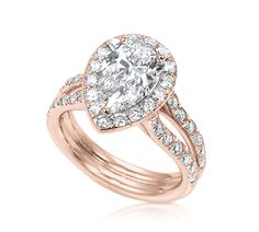 Pear Shape Engagement Ring with Halo