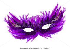 stock photo : Fancy festive purple feathers dress mask isolated on white background