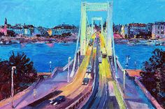 Traffic On Elisabeth Bridge At Dusk Painting by Judith Barath