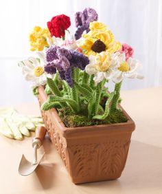 Crochet Flower Pot - Tutorial ❥ 4U // hf
