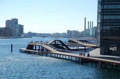 Kalvebod Waves, Copenhagen, Denmark - design by KLAR + Julien de Smedt… Water Architecture, Architecture Design, Copenhagen Travel, Copenhagen Denmark, Bridge Design, Waves, Waterfront Property, Urban Furniture, Urban Life