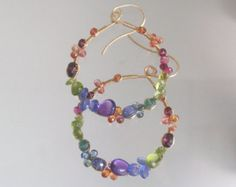 Rainbow Gemstone Hoops Colorful Earrings Bohemian Jewelry