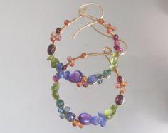 Rainbow Gemstone Hoops Colorful Earrings Bohemian Jewelry