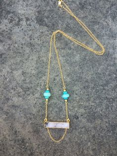 Natural Smokey Druzy Bar and Amazonite Stone 18K Gold Filled Chain Necklace Boho Chic Gold Jewelry by TheHauteBohemian on Etsy
