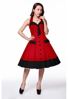Stunning Red and Black Swing Dress £37.99