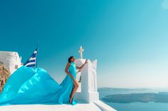 Artistic photoshoots & flying dress rental in Santorini, Greece. Magic pictures from the most romantic island of the world! Fly Dressing, Dress Rental, Greece Holiday, Romantic Getaways, Holiday Photos, Most Romantic, Female Portrait, Unique Dresses, Videography