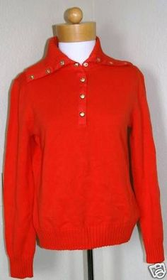 LAUREN W's Hol2Classic Sweater Papaya Sz M $90-NWT #LAUREN #Pullover