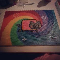 Nyan Cat hama perler bead art by brullee