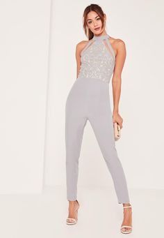 Missguided - Grey Lace High Neck Sleeveless Jumpsuit