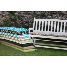 $44.99 53x14x2 Matchs toss pillows also. Coral Coast Lakeside 53 x 14 Outdoor Cushion for Porch Swings & Gliders | from hayneedle.com