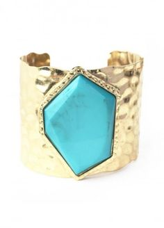 Color By Stone Cuff Bracelet In Turquoise $15.00