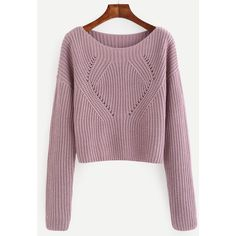 SheIn(sheinside) Pale Purple Hollow Out Long Sleeve Sweater (330 ARS) ❤ liked on Polyvore featuring tops, sweaters, loose fitting tops, acrylic sweater, ribbed sweater, loose pullover sweater and loose tops