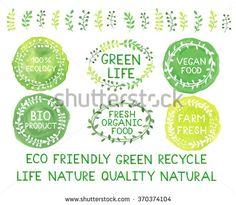Set of watercolor green logos. Leaves, frames, badges, lettering, branches wreath, plant, laurels. Sign label,textured emblem. Ecology, vegan food, bio product, organic,farm template.