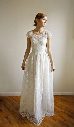 Pretty with or without the tie. Could make it tea length if wanted... Ellie Long --2 Piece, Lace and Cotton Wedding Dress. $1,250.00, via Etsy.
