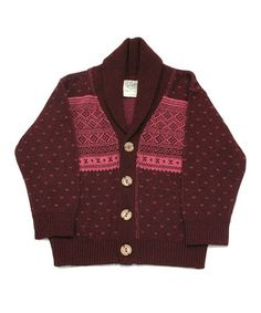 Take a look at this Burgundy Fair Isle Professor Cardigan - Infant, Toddler & Girls by Loop Collection on #zulily today!