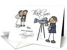 Thank You Wedding Videographer, Stick Figures Bride and Groom card