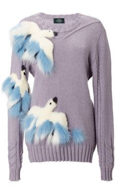 Alena Akhmadullina Fur Embroidered Birds Sweater by Alena Akhmadullina for Preorder on Moda Operandi