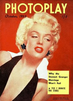 Photoplay - October 1953, magazine from Australia. Front cover photo of Marilyn Monroe by Frank Powolny, 1952.