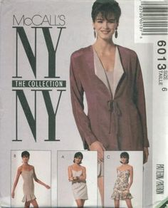 An unused original ca. 1992 McCall's pattern 6013.  The NY Collection - Misses' Unlined Jacket and Dresses:  Princess seamed jacket has long dolman sleeves with slit detail, shoulder pads, bias front ties and contrasting facing turned back to form lapels; fitted and lined slip-type dress has back zipper and shoulder straps; view A has lower back vent; view B has circular flounce; view C has self-lined overlapping flaps.