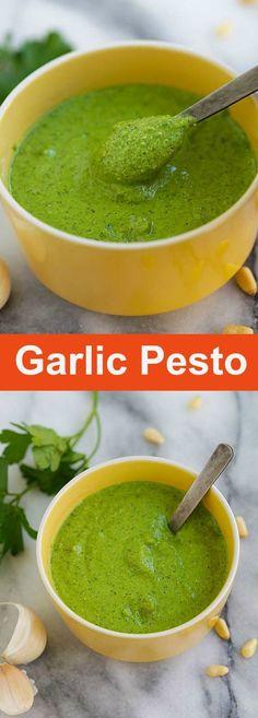 Garlic Pesto – BEST homemade pesto loaded with garlic, Parmesan cheese, basil and pine nuts. This garlic pesto recipe is great for potatoes, pasta and more | rasamalaysia.com
