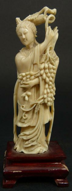 CHINESE IVORY CARVING | 199 chinese carved ivory figure of maiden w grapes chinese hand carved ...