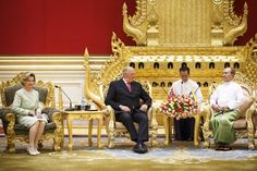 Queen Sonja with her husband King Harald and President Thein Sein at the presidential palace's reception room in the capital Naypyidaw, December 1st.