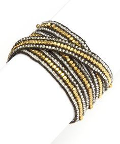 Another great find on #zulily! Silvertone & Goldtone Bead Wrap Bracelet #zulilyfinds