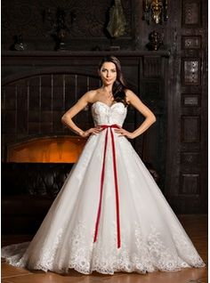 Ball-Gown Sweetheart Cathedral Train Beading Appliques Lace Flower(s) Sequins Bow(s) Lace Up Strapless Sleeveless Church General Plus No Winter Spring Summer Fall Ivory Tulle Wedding Dress