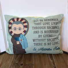 Saint Maximilian Koble pillow. Baptism Gift. Children's & Nursery Decor, Christian Catholic Gift. First Communion Gift. St. Maximilian Gift by MeyerMarketDesigns on Etsy