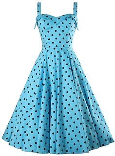 The swing dress is featuring sleeveless, back zipper closure, pullover styling, high waist and polka dot print.