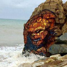 @streetartfiles Beach art by Blesea Follow: @MARKERSNPENS WE ❤ STREET ART - @STREETARTFILES