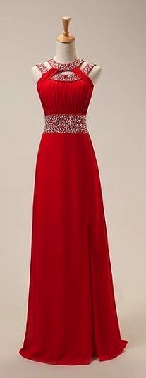 Fashion Red Chiffon Front Split Long Prom Dress