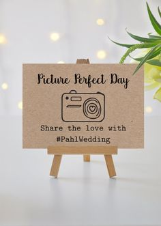 Help your guests share magical memories from your picture perfect day! This sign will be personalized with your own custom hashtag for Instagram and other social media sites. Available in both natural craft brown and crisp white card stocks, this sign is perfect for rustic, country, or garden chic weddings!  > Sign Details < This sign will be printed in black ink on your choice of natural, kraft card stock; or heavy weight, bright white card stock. Four sizes are available: - 5 x 3.5 - 4 x…
