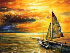 Big Wall Art Decor - Sailing Away — Palette Knife Abstract Sunset Seascape Oil Painting On Canvas By Leonid Afremov.